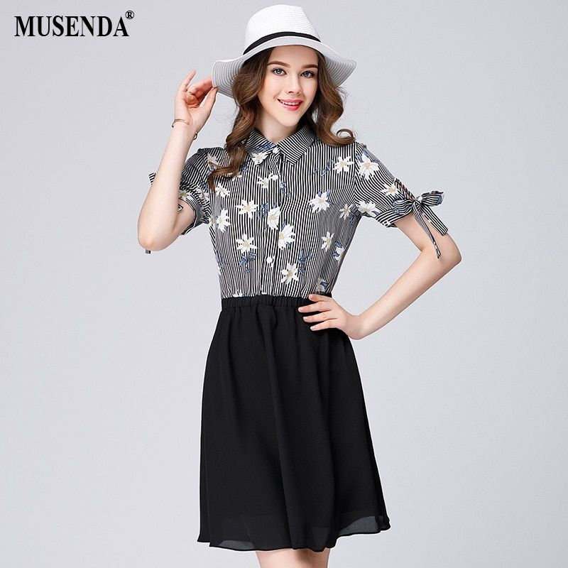MUSENDA Women Striped Print Patchwork Bow Turn Down Collar Dress 2017 Summer Sundress Lady Office Work Brief Dresses Plus Size