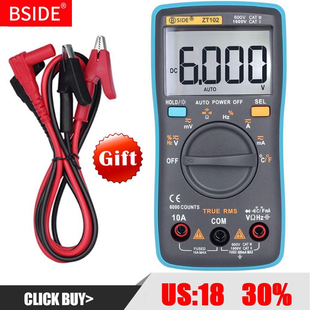BSIDE multimètre digital ZT102 Vrai RMS Auto Gamme Multimetro Voltmètre Ampèremètre Capacité Température Ohm HZ testeur ncv RM102