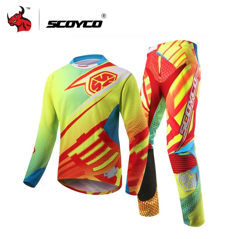 Scoyco профессиональный Мотокросс Мотоцикл Джерси комплект гонки рубашка костюм езда внедорожных Штаны брюки Спортивная одежда
