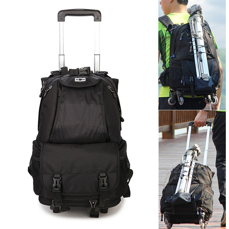 Large Capacity Space Trolley Photo DSLR Case Camera Waterproof w/ Rain Cover Nylon Bag Shoulders Backpack Removable Trolley