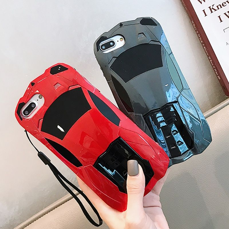 Phone Case For iPhone X 10 XS 6 6s 7 8 Cool 3D Sports Car PC Stands Holder Back Cover For iPhone 6 6s 7 8 Plus Capa