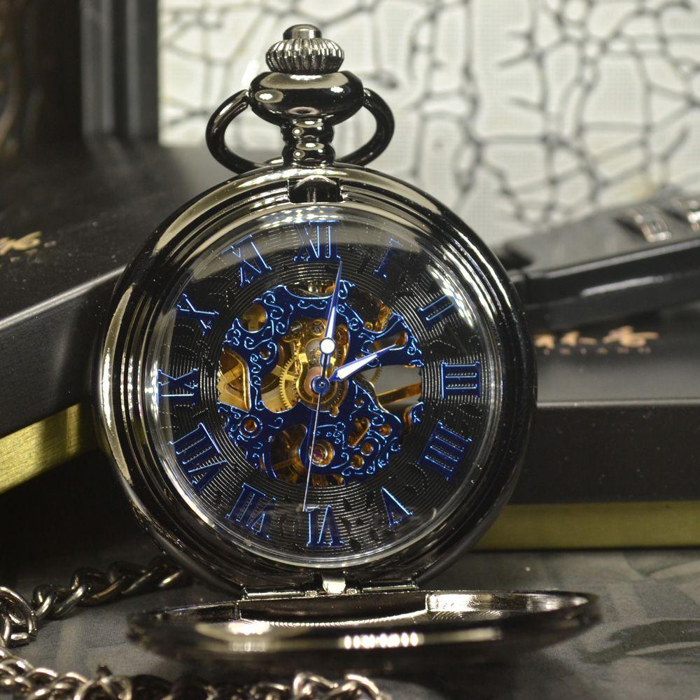 TIEDAN Blau Steampunk Skeleton Mechanische Taschenuhr Männer Antiken Luxus Marke Halskette Tasche & Fob Uhren Kette Männliche Uhr