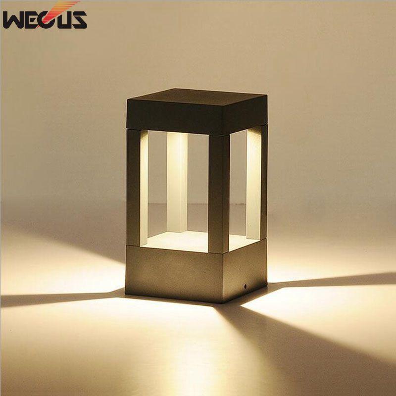 (WECUS) aluminium moulé sous pression extérieur étanche (IP65) lumière, jardin/paysage parc lumières LED lampes de pelouse, lumières de pilier de porte