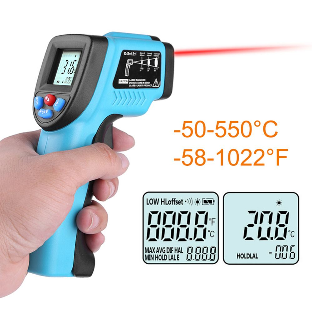 Thermomètre frontal infrarouge numérique sans contact 50-550 degrés LCD IR Point Laser pistolet température bébé adulte compteur pyromètre