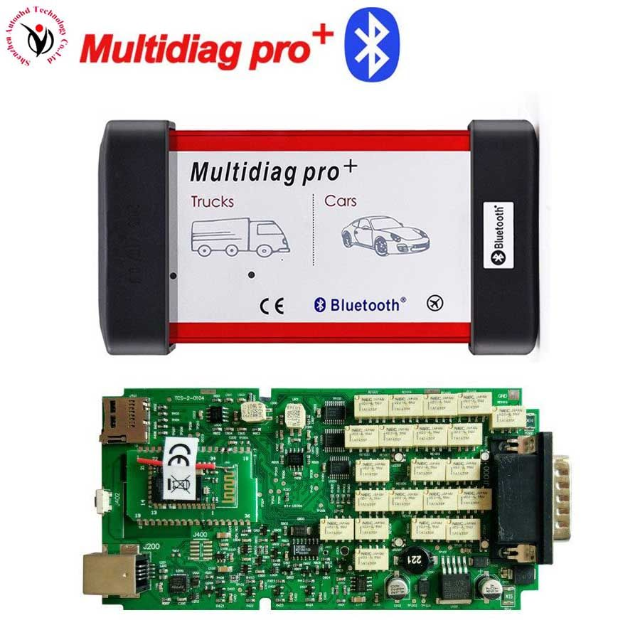 Free ship VD TCS CDP Single Green PCB Board Multidiag Pro+ With Bluetooth OBDII Maintenance Diagnostic Tool with multi-functions