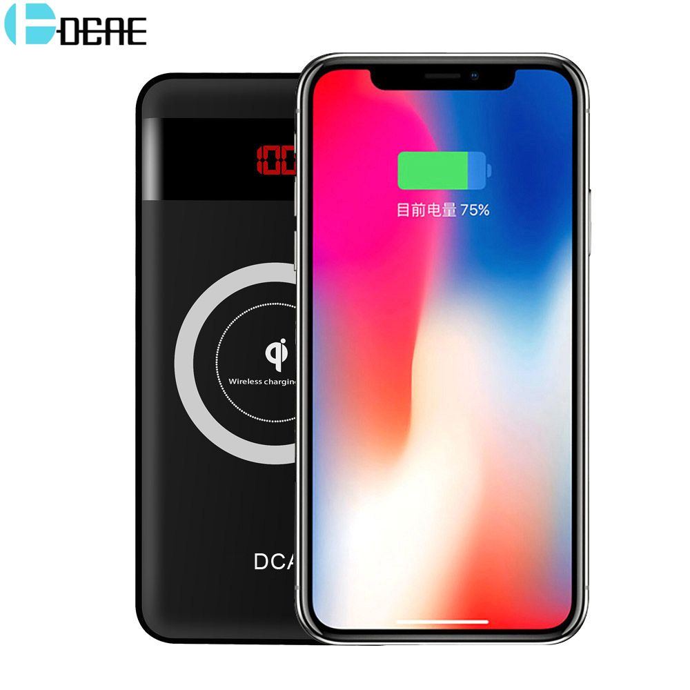 DCAE 10000mAh Power Bank Qi Wireless <font><b>Charger</b></font> for iPhone X 8 Dual USB Mobile Phone External Battery for Xiaomi Samsung Powerbank