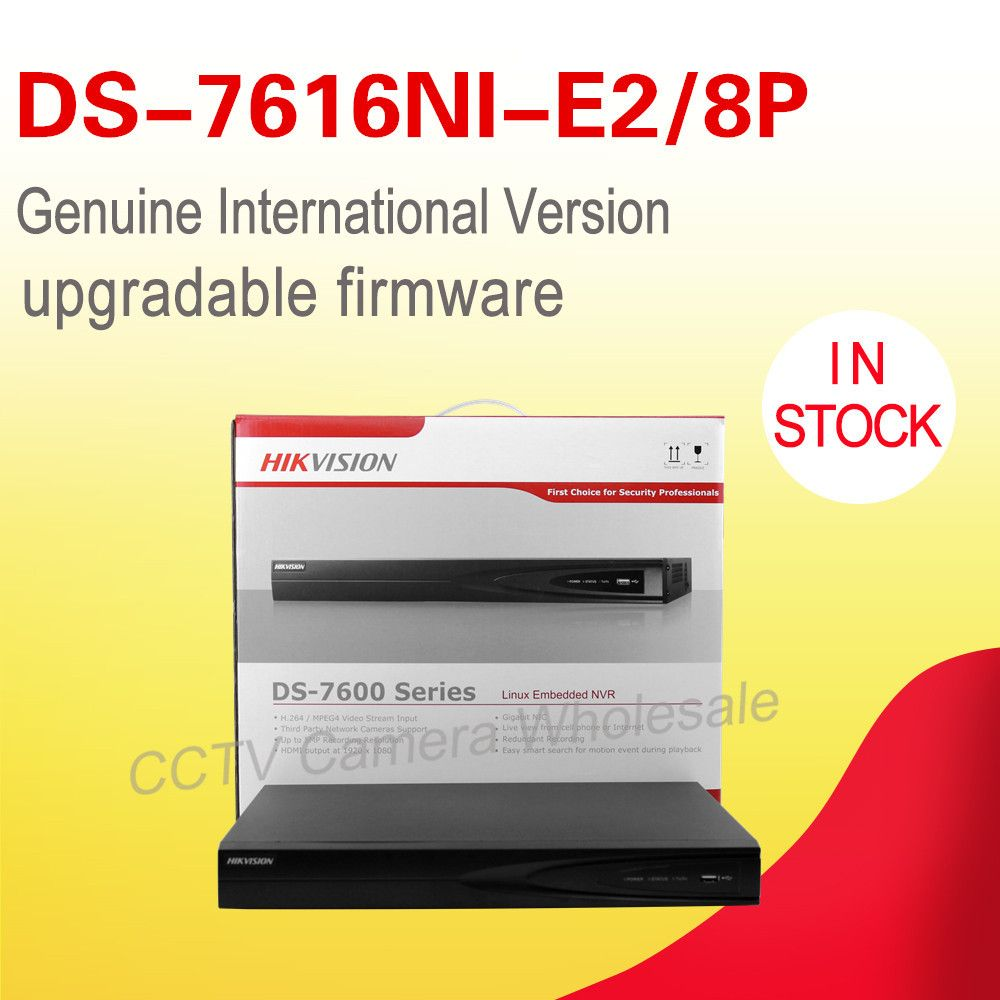 In stock HIKVISION DS-7616NI-E2/8P original international version 16CH POE NVR SUPPORT 5MP IP camera p2p network vedio recorder