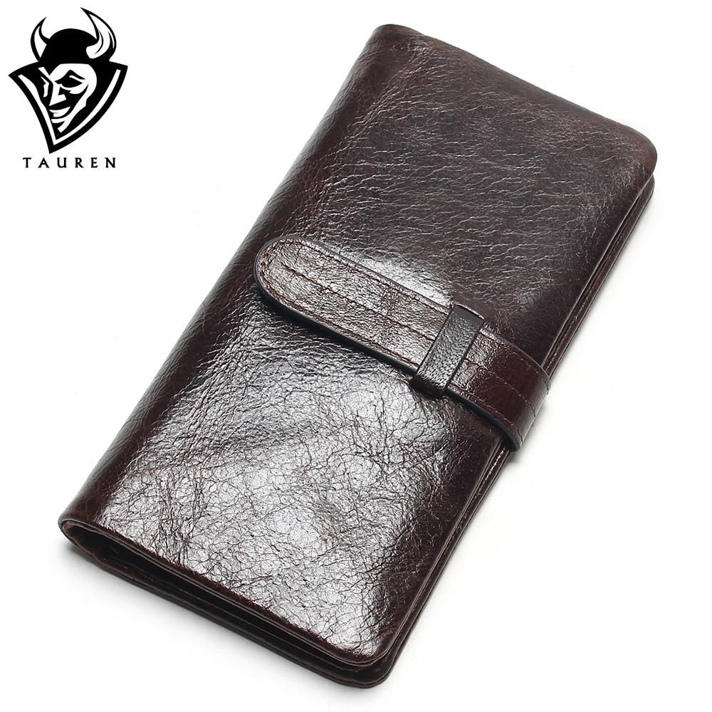 Luxury Brand <font><b>High</b></font> Quality 100% Top Genuine Oil Wax Cowhide Leather Women Long Bifold Wallet Purse Vintage Designer Male Carteira