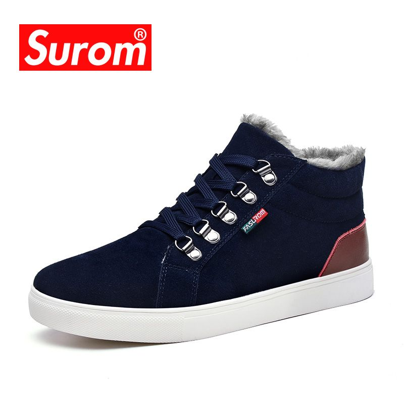 SUROM Brand Fashion Plush Warm Men's Winter Snow Boots Unisex Leather Shoes Men Leather Boots