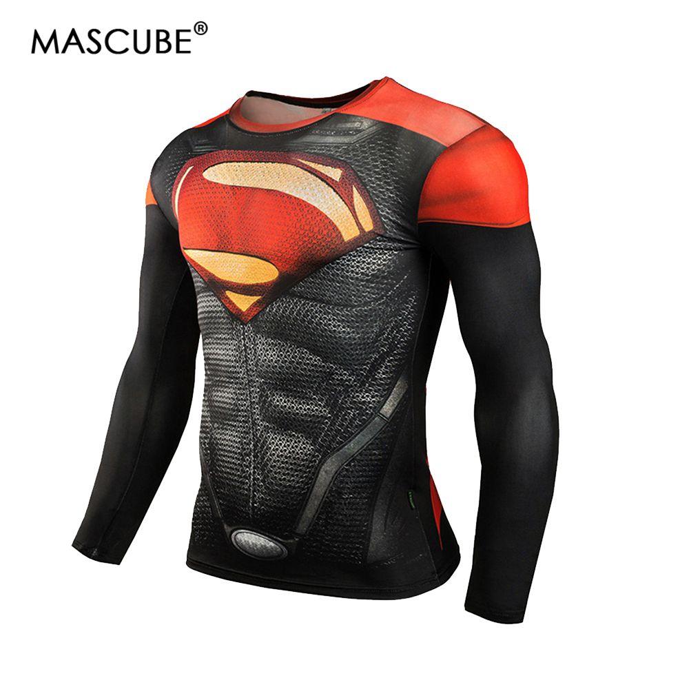MASCUBE Compression T Shirt hommes Superman Comics Fitness séchage rapide collants vêtements manches longues T-shirt marque vêtements 4XL MMA