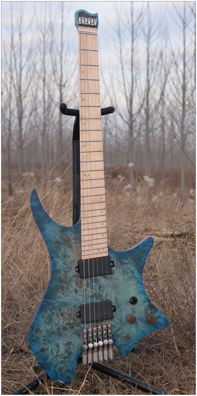 2018 NK Headless gitarre Aufgefächert Bünde Elektrische gitarre Blau/Schwarz Farbe Quilted Maple top Flamme ahorn Hals Gitarre freies verschiffen