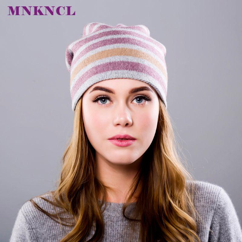 Kaschmir Frauen Winter Hüte Caps Streifen Strickmütze Weibliche Mode Dame Sicherungskappe Kaschmir Dicken Beanie