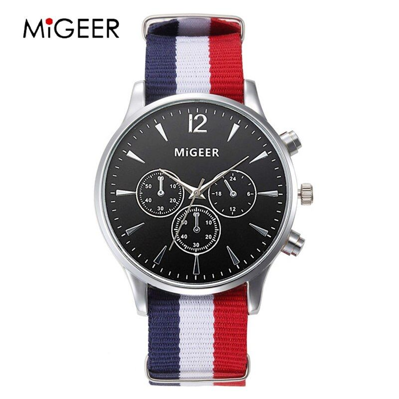 Migeer Fashion Flag Nylon Strap Watch Women Simple style gold case quartz watches unisex wristwatch casual Saati damsk relojes