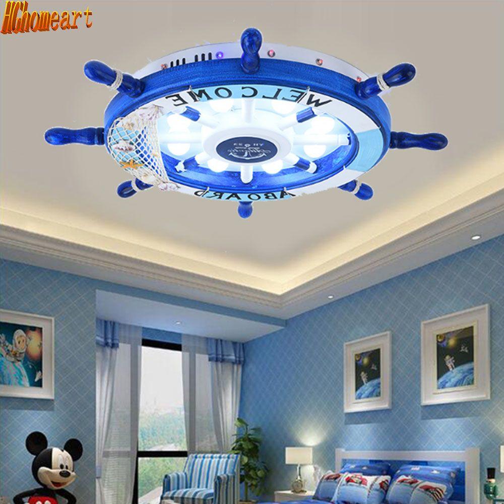Mediterranen Stil Cartoon Decke Licht Kinderzimmer LED Kreative Ruder Baby Zimmer Augenschutz Lampe Energie Spar Lampe