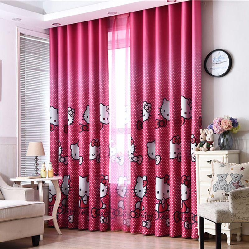 Mignon Hello Kitty dessin animé imprimé rideaux pour enfants bébé chambre enfants chambre salon rideau rideaux panneau fenêtre traitements