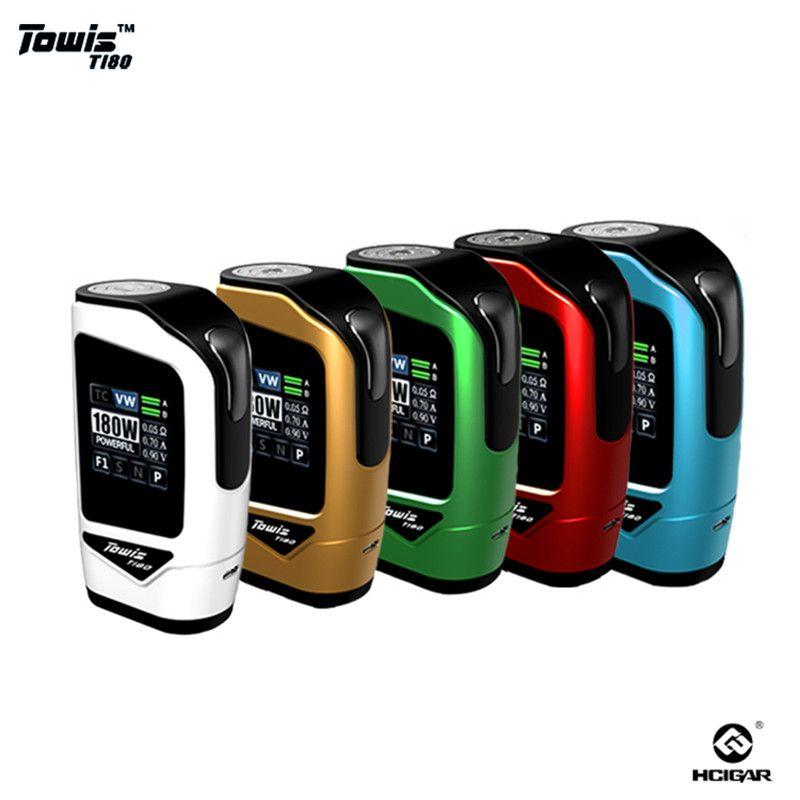 Original Hcigar Towis T180 e-zigarette Touchscreen Box Mod mit XT180 chipset 5-180 Watt ausgang TPS Tft-farbbildschirm MOD