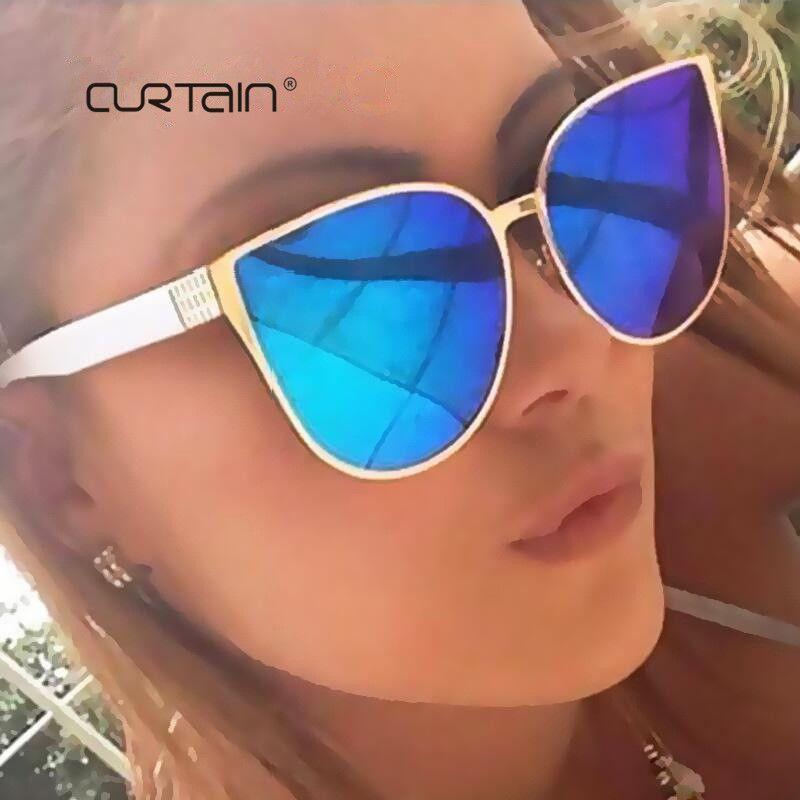 Rideau 2019 nouveau surdimensionné lunettes de soleil yeux de chat femmes mode été Style grande taille cadre miroir lunettes de soleil femme Oculos UV400