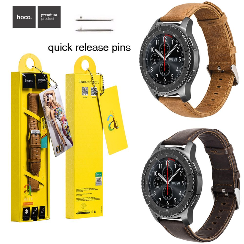 HOCO 22mm Brown Coffee Genuine Leather Wrist Strap for Samsung Galaxy Gear S3 Frontier / Classic Watch Band w Quick Release Pins