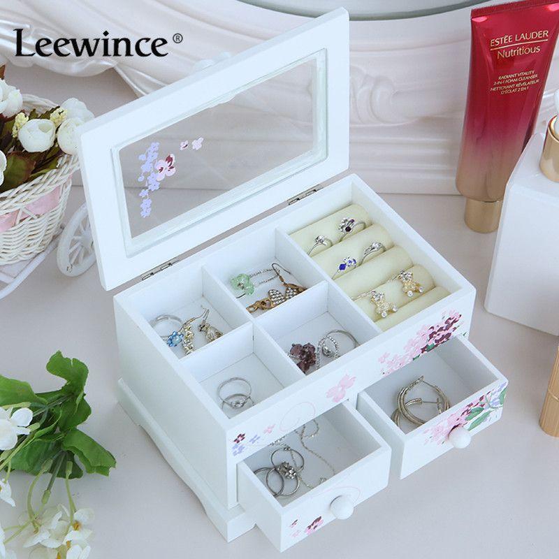 Leewince обычай украшения Макияж Организатор e0 e1 mdf деревянный ящик для хранения красивые Дизайн шкатулка для отображения, поддержка oem и odm