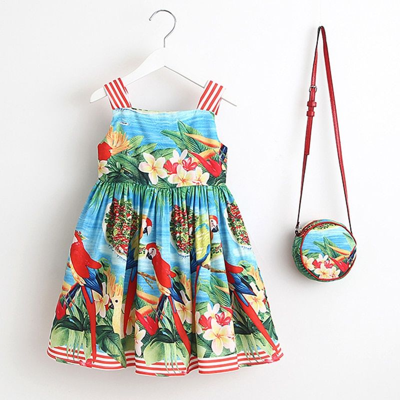 Baby Girls Dress Summer 2018 Brand Kids Clothes Toddler Dress with Bag Robe Enfant Christmas Dress Princess <font><b>Children</b></font> Clothing