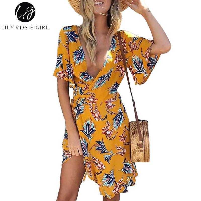 Lily Rosie Girl Yellow Print Wrap Dress Flare Short Sleeve Floral Mini Women Summer Dresses 2018 Beach Sexy V Neck boho Vestidos