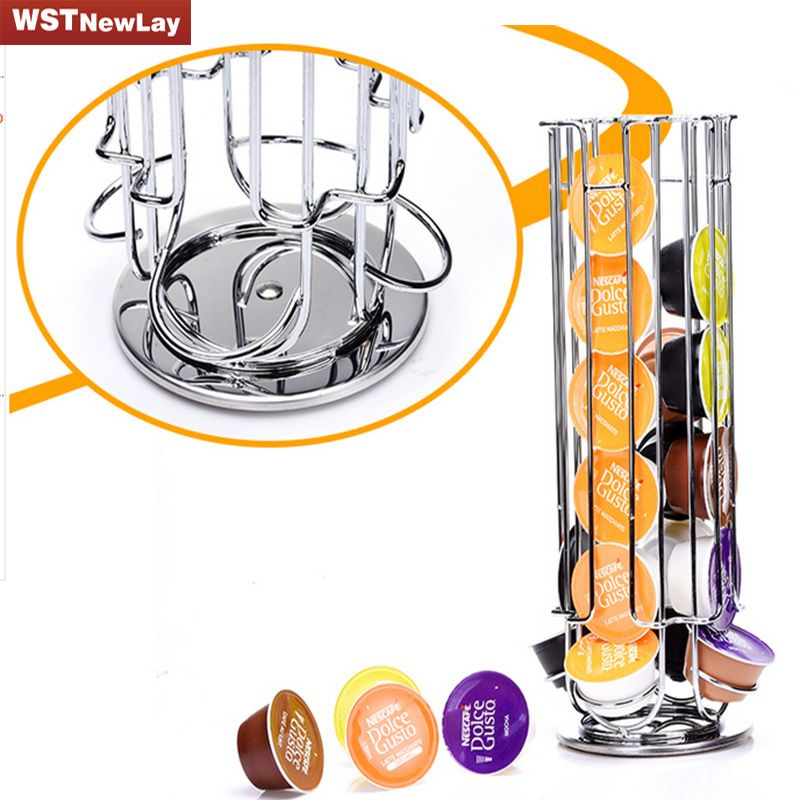 Top Home Solutions Revolving Rotating 32 Capsule Coffee Pod Holder Tower Stand Rack For Dolce Gusto