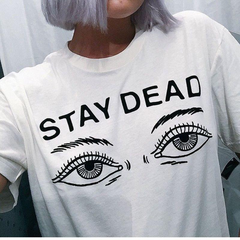 Femmes t-shirt 2016 d'été nouvelle mode imprimés restent lettre morte col rond T-shirt