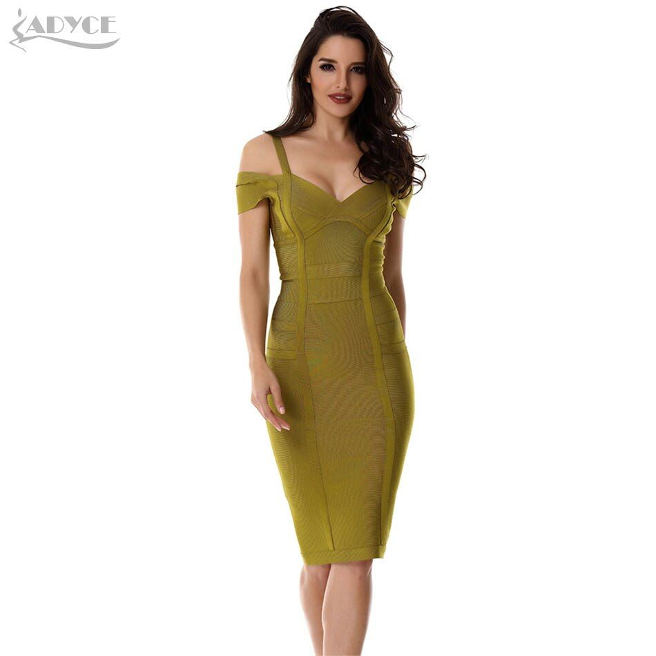 ADYCE Bandage Dress 2018 Women Party Dress Olive Green Off the Shoulder Knee-Length Stunning Celebrity Prom Sexy Bodycon Dresses