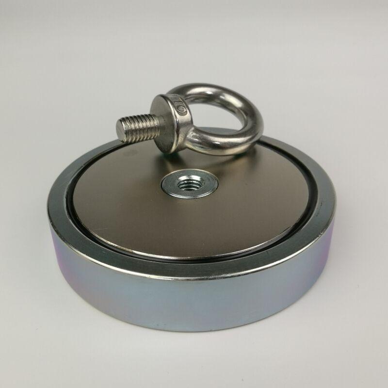 1 stücke 500 KG magnetische zieht kraft stark halten neodym recovery angeln und Abrufen topfmagnet mit einer ringschraube
