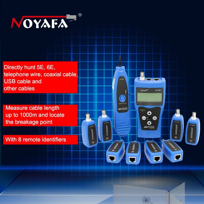 D'origine Noyafa NF-388 Bleu Anglais Version Multi-fonctionnelle câble Réseau testeur Câble tracker RJ45 lan testeur LCD affichage
