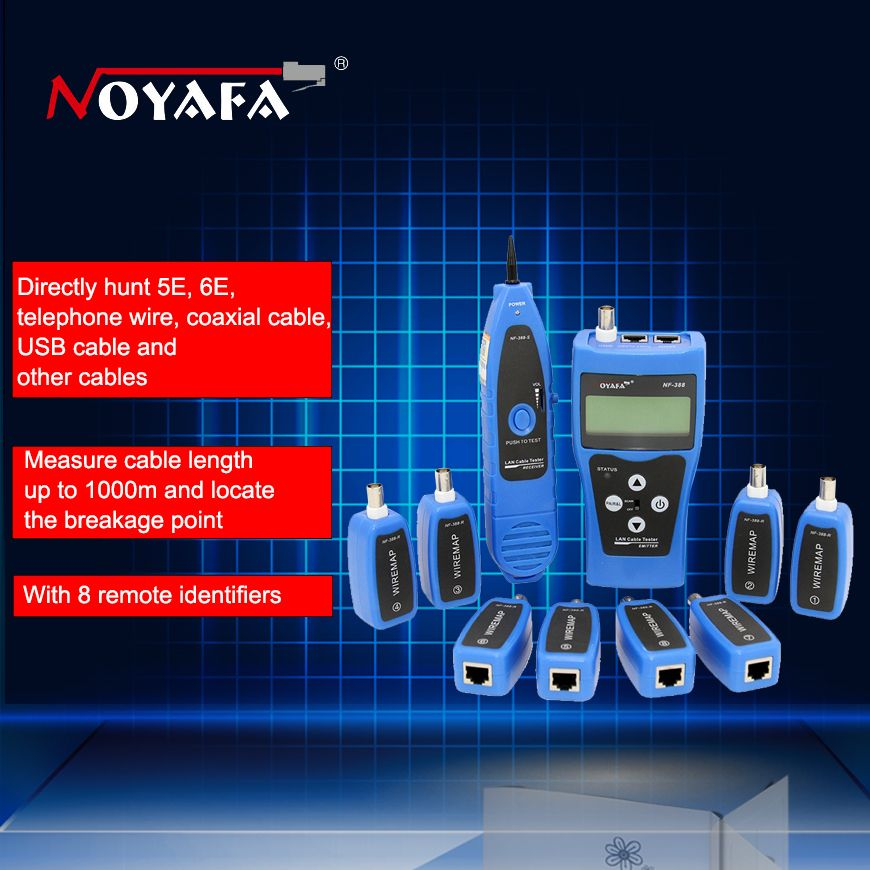 Original Noyafa NF-388 Blue English Version Multi-functional Network cable tester Cable tracker RJ45 lan tester LCD display