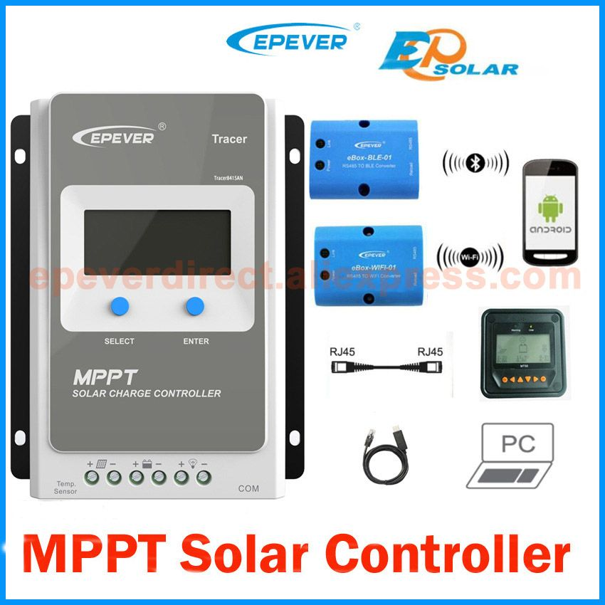 Tracer 4210AN 40A MPPT Solar Charge Controller 12V 24V LCD EPEVER Regulator MT50 WIFI Bluetooth PC Communication Mobile APP WY