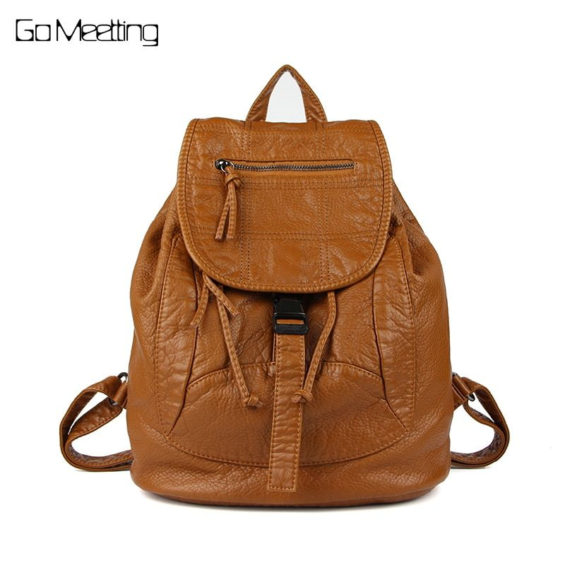 Go Meetting Brand Fashion Women Backpacks Soft Washed Leather Bag Schoolbags For Girls Leisure Bag mochilas Travel backpack