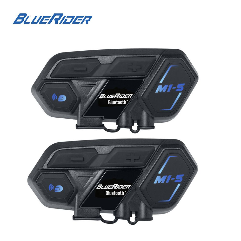Pair of M1-S Motorcycle Intercom 4000m Bluetooth Moto Helmet Interphone Headset Voice Command Input Echo Noise Cancellation