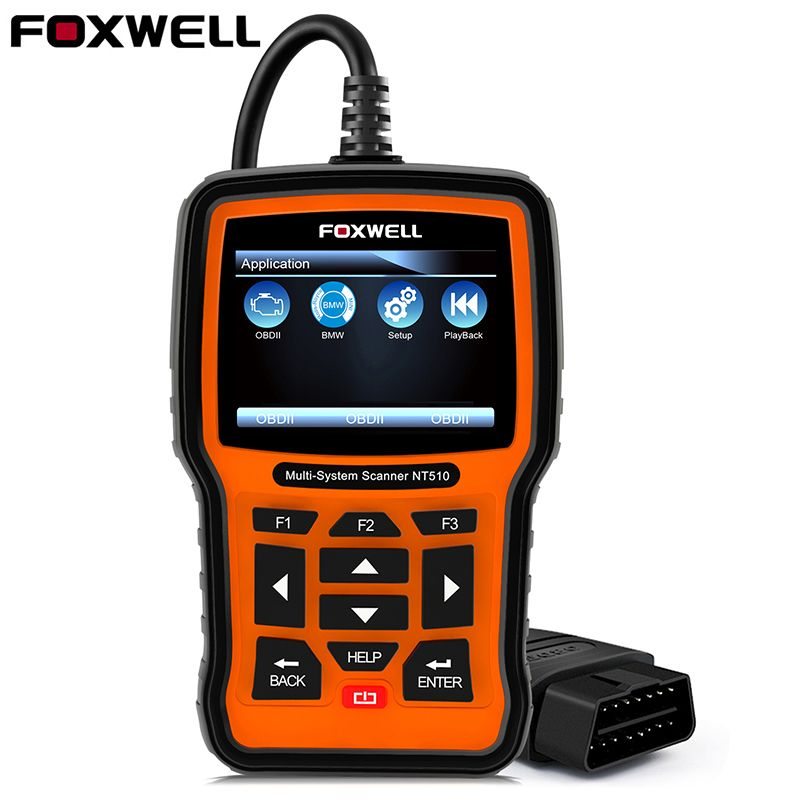 FOXWELL NT510 Full System OBD2 Automotive Scanner ABS Airbag Crash Data EPB Oil Service Reset for BMW Hyundai Diagnostic Tool