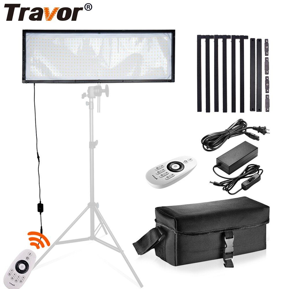 Travor FL-3090 LED Video Light Flexible Panel Light Dimmable Daylight 576PCS Studio Photography Light With 2.4G Remote Control