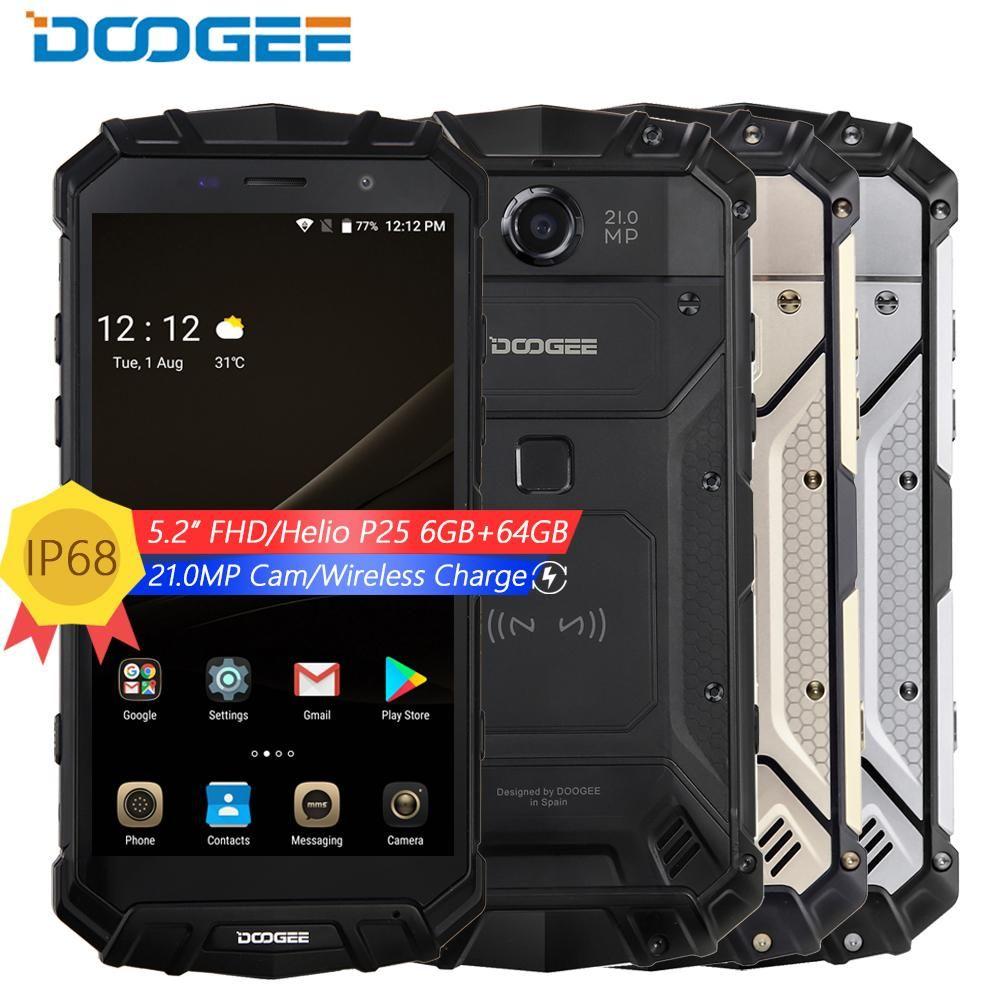 DOOGEE S60 IP68 wasserdicht stoßfest handy 5,2 ''FHD Helio P25 Octa Core 6 gb 64 gb 4g smartphone android 7 5580 mah 21.0MP Kamera