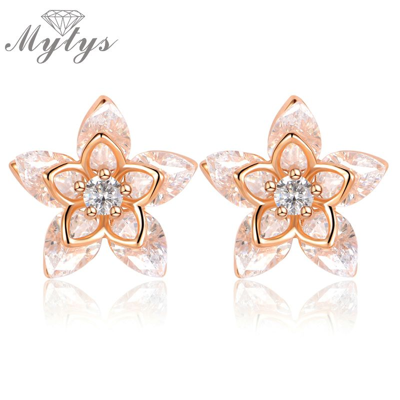 Mytys Fashion Crystal Flower Stud Earrings for Women GP Purple Color Crystal Earrings Gift CE174 CE175