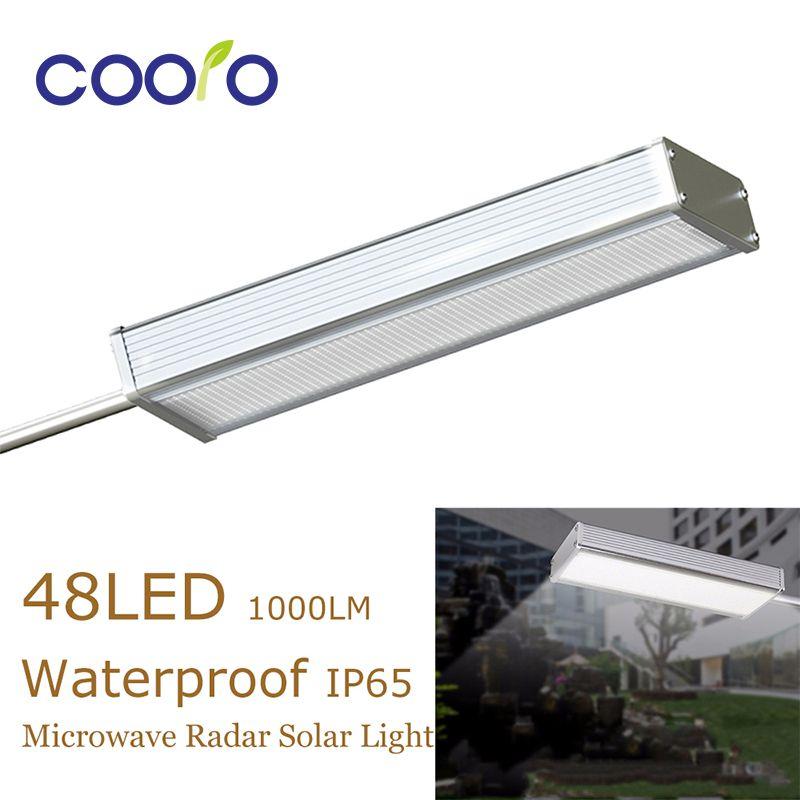 48LED Microwave Radar Motion Sensor Solar Light 1000LM Waterproof IP65 Street Outdoor Wall Lamp Security Spotslights