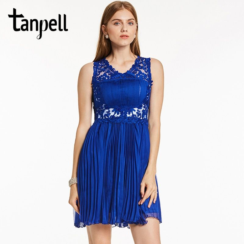 Tanpell royal blue homecoming dress beaded lace scoop sleeveless A-line dress cheap girl party homecoming short graduation dress
