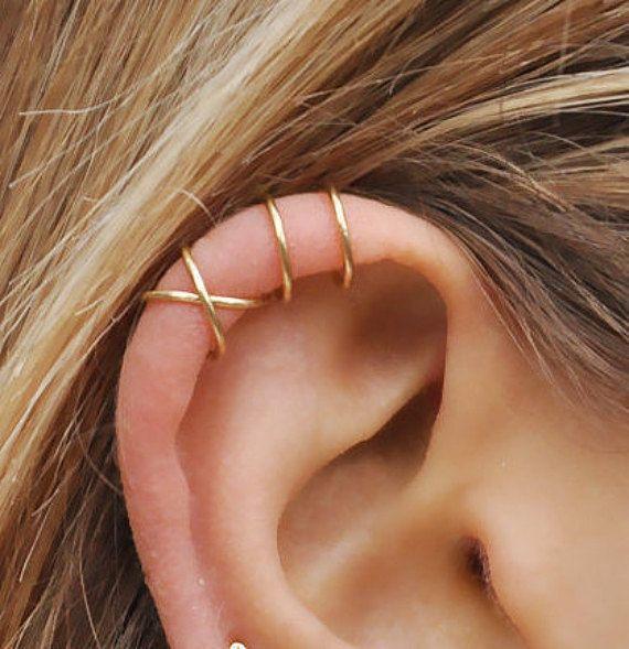 PINJEAS Set of 2pcs handmade No Piercing Cross Cuff Earrings Simple No Fake Cartilage fashion Gift Jewelry earring for women