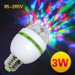 E27 3 Вт красочный автоматический вращающийся RGB светодиодный ламповое дежурное освещение вечерние лампы диско для домашнего украшения осве...