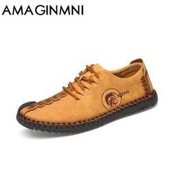 AMAGINMNI 2018 moda Zapatos cómodos mocasines casuales hombres zapatos calidad Split zapatos de cuero hombres planos Venta caliente mocasines zapatos
