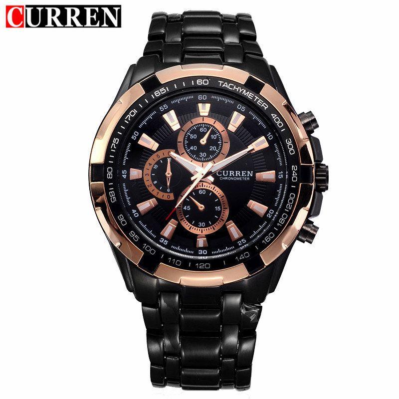 Curren Watch Mens Brand Luxury Black Stainless Steel Quartz Wrist Watches Waterproof Military Sport Male Clock Relogio Masculino