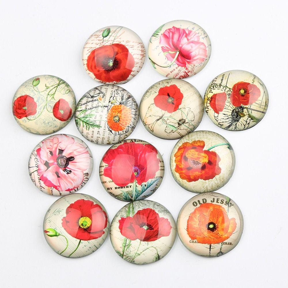 onwear poppy flower photo round glass cabochon 25mm 30mm 20mm 18mm 14mm 12mm 10mm 8mm diy jewelry making accessories