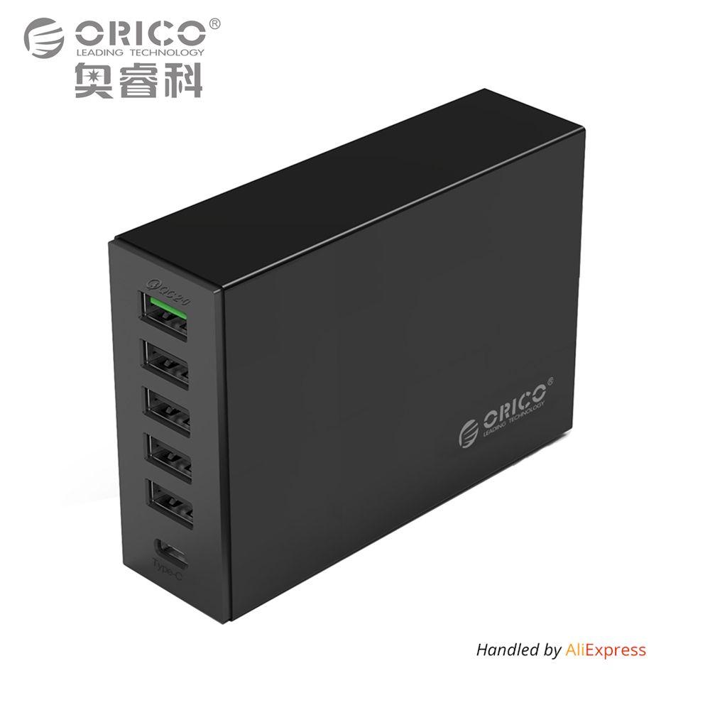 Typ C QC2.0 Schnellladegerät, ORICO 6-ports Ladegerät 5V2. 4A 9V2A 12V1. 5A Typ C 3.1A Handy-ladegerät für iPhone Samsungmore