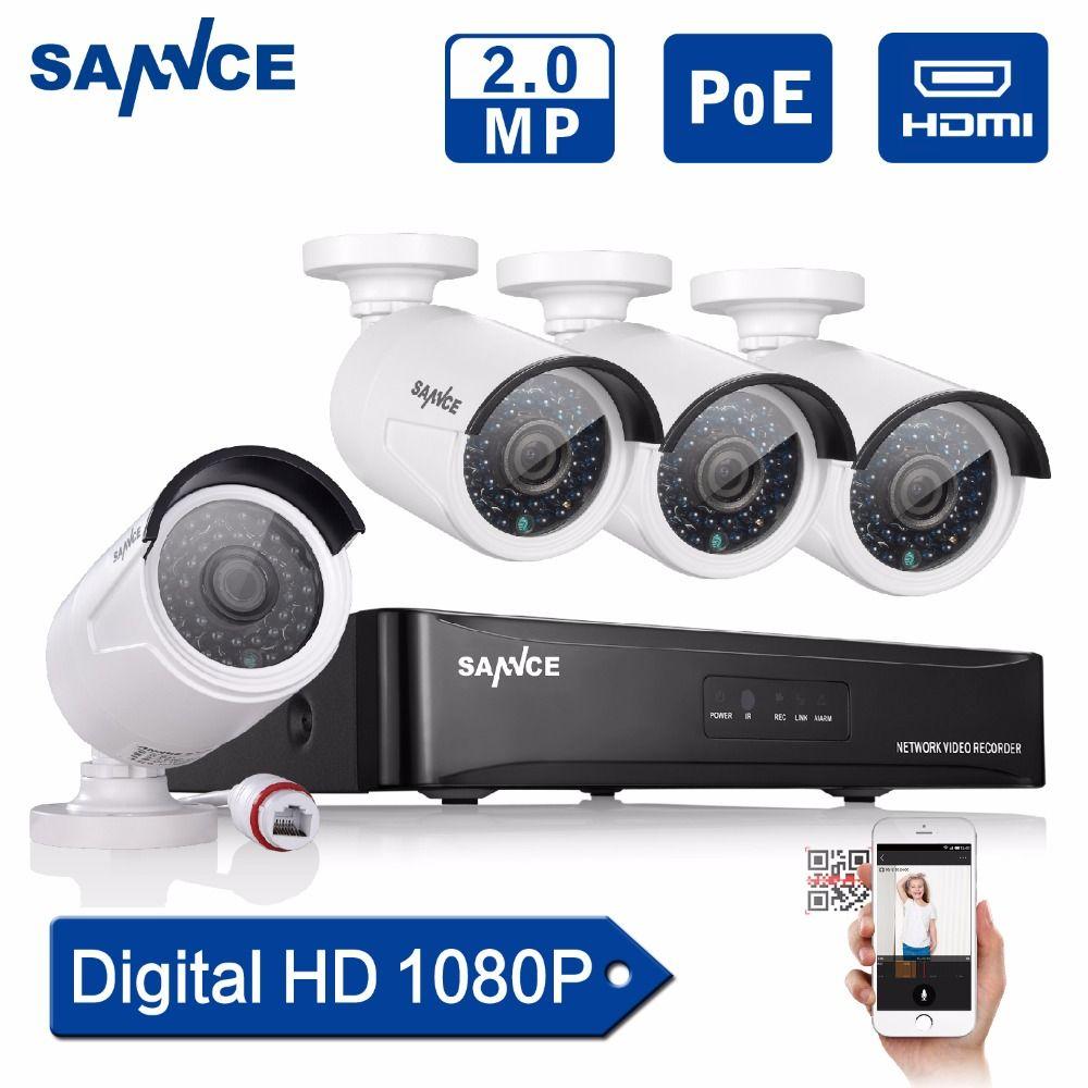 Sannce 4ch 1080 P POE CCTV Системы Full HD PoE Комплект видеонаблюдения NVR 2.0mp Камеры Безопасности Инфракрасный Открытый 1080 P видео Системы