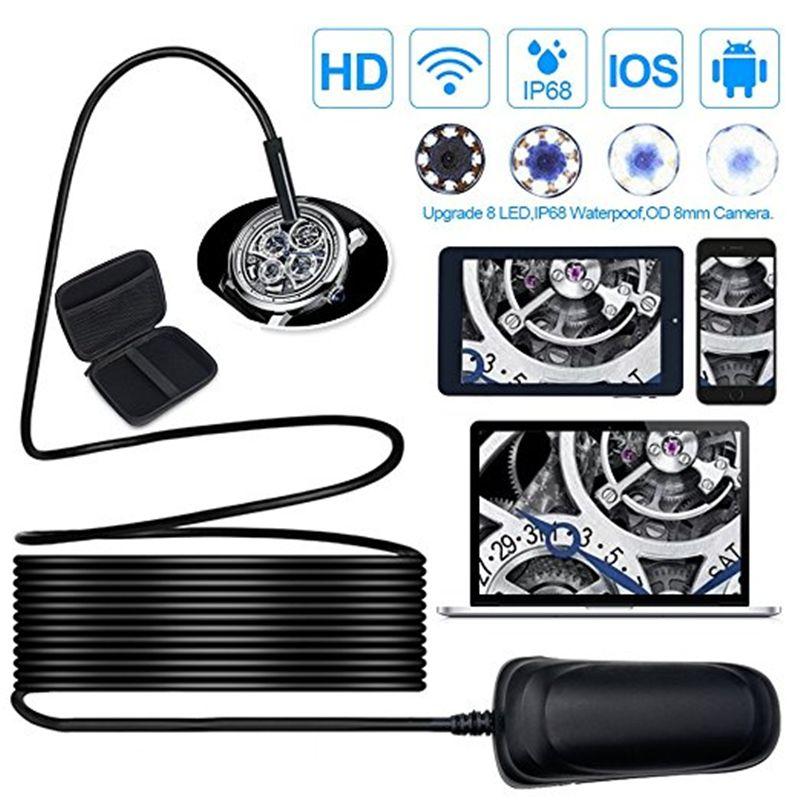 Wireless Endoscope HD1080P 1000mAh Wifi USB Borescope, IP68 Waterproof Inspection Camera, Semi-rigid Flexible Snake Camera