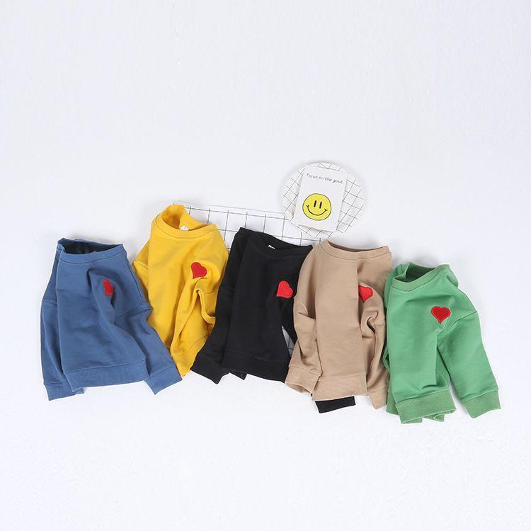 Новый осень-зима футболка для маленьких мальчиков и девочек верхняя одежда хлопок Толстовка для Обувь для мальчиков Сердце печати Верхняя ...
