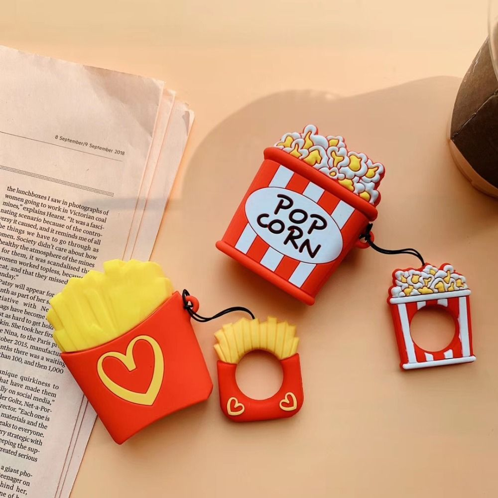 Cute For iphone AirPods Case 3D Cartoon Earphone Cases For Apple Airpods 2 earphone Protect Cover with Finger Ring Strap